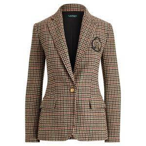 Ralph Lauren Bullion Plaid Wool Crest Blazer